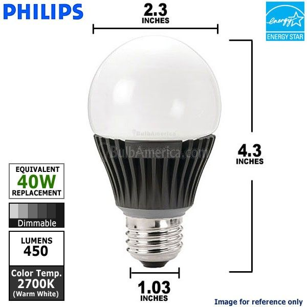 PHILIPS EnduraLED 8W E26 A19 Dimmable Light Bulb  Philips EnduraLED 8 Watt A-shape Dimmable LED lamp is the smart LED alternative to standard incandescent. They provide smooth dimming with less energy. Their long life properties eliminate the hassle of repeated relamping in busy areas.