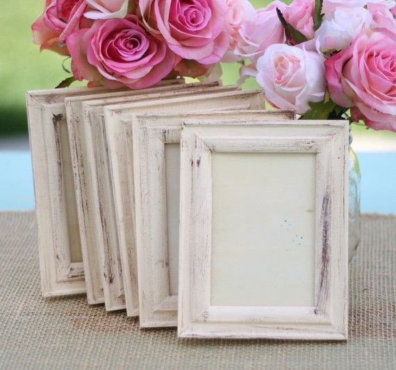 vaseline for a distressed look:::How perfect would these photo frames be as number signs or a photo area at a rustic wedding?