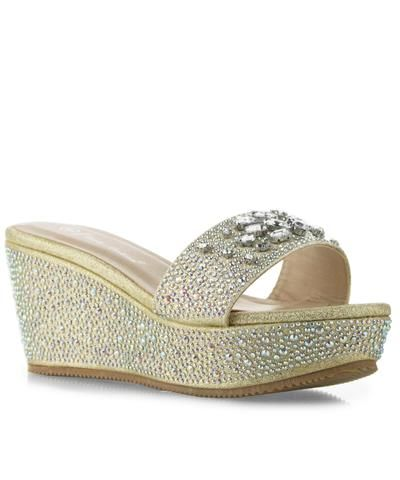 f47940a8a3e Bora-02 Open Toe Rhinestone Embellished Slip On Platform Wedge Sandals GOLD
