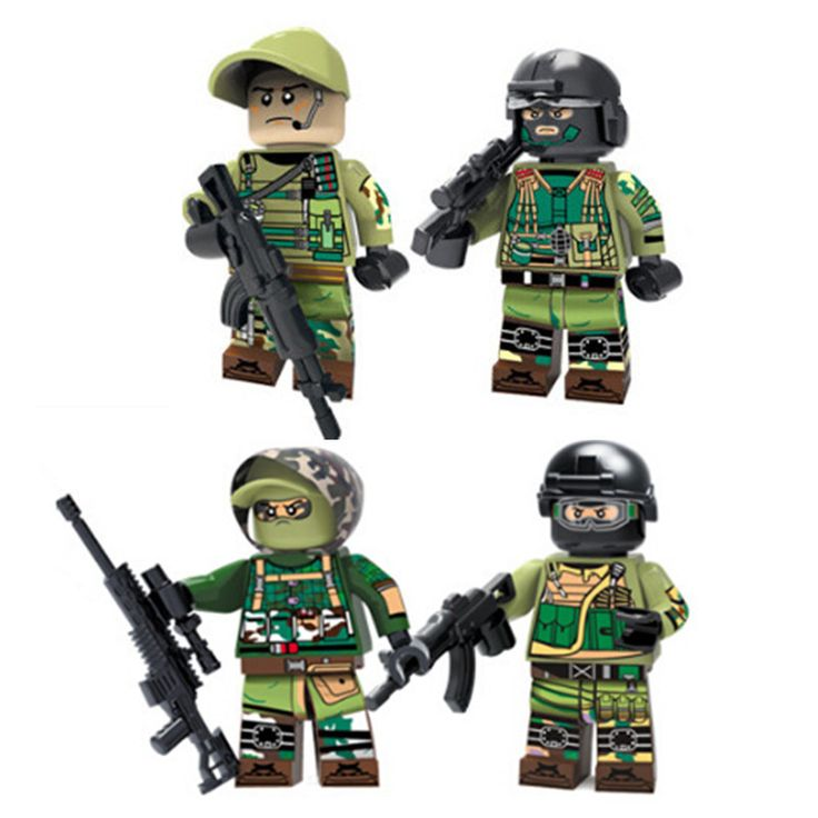 Decool 304-307 Military Russian Army Soldiers figures Modern War Recon Assault Engineer Building Brick Toy Compatible Lepin