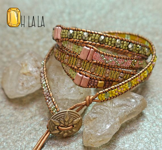 Wrap Bracelet with Crystals and Beads on Tan Leather with Bronze Button