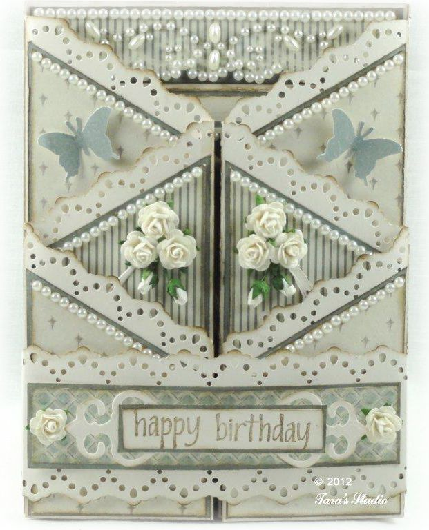 Taras Studio - Happy Birthday Card June 23,2012 - front img5.... way too ornate for my taste, but I like the folding and the idea of a more simple border