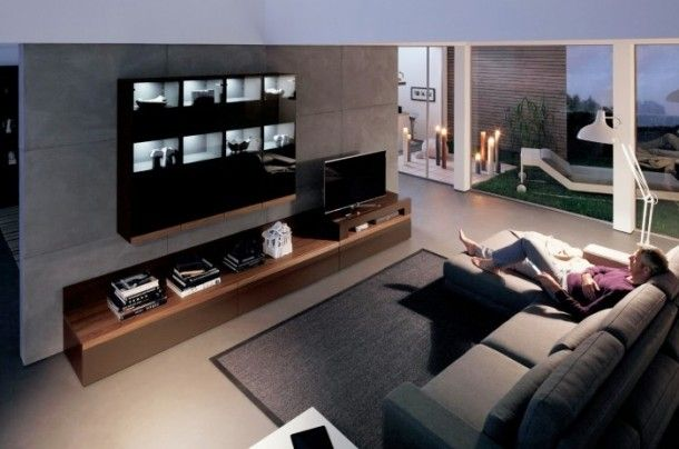 Decoration - Glamour Modern Living Room With Dark Wood Media Center Black Wooden Shelf: Wood Wall Panels Unit Combinations Design Ideas by H...
