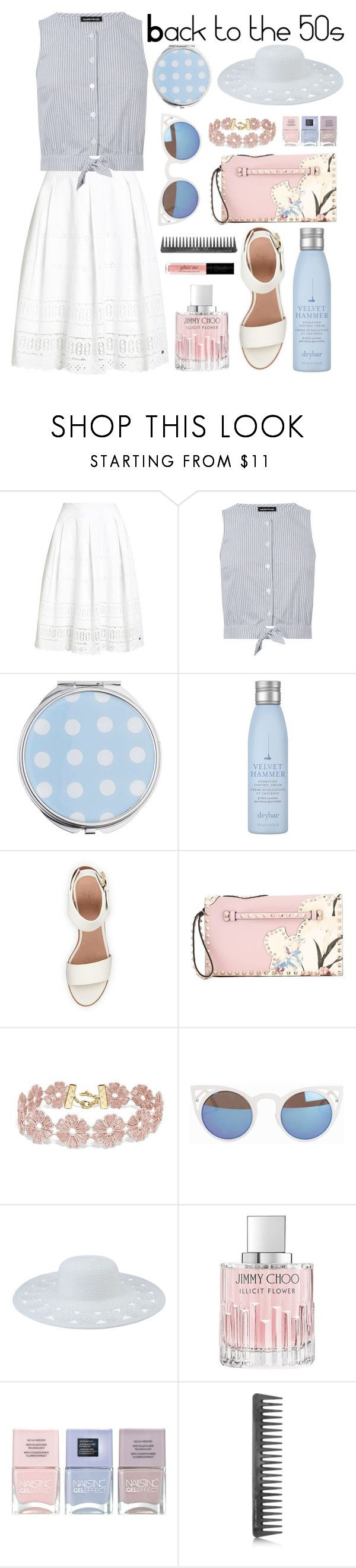 """Back to the 50s"" by isabelhalen ❤ liked on Polyvore featuring Superdry, Warehouse, Miss Selfridge, Drybar, BEA, Valentino, BaubleBar, Quay, San Diego Hat Co. and Jimmy Choo"