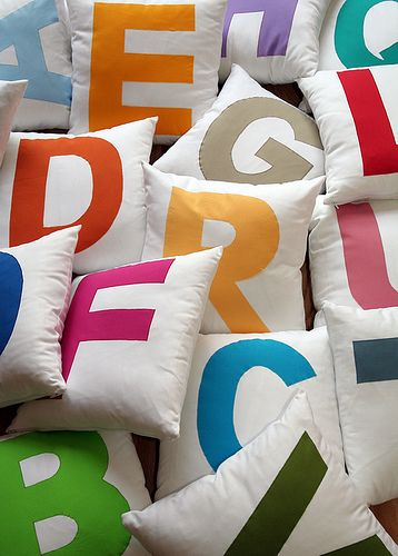Have a pillow fight and practice spelling at that same time! letters on pillows #kid'srooms