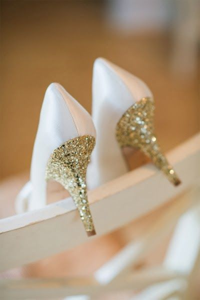 White and Gold Wedding Shoes. Sparkly Glitter Heels. Bride Shoes. Golden Wedding