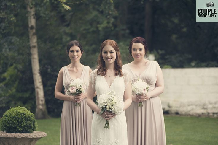 The bride & her bridesmaids. Weddings at Conyngham Arms Hotel, Slane, by Couple Photography.