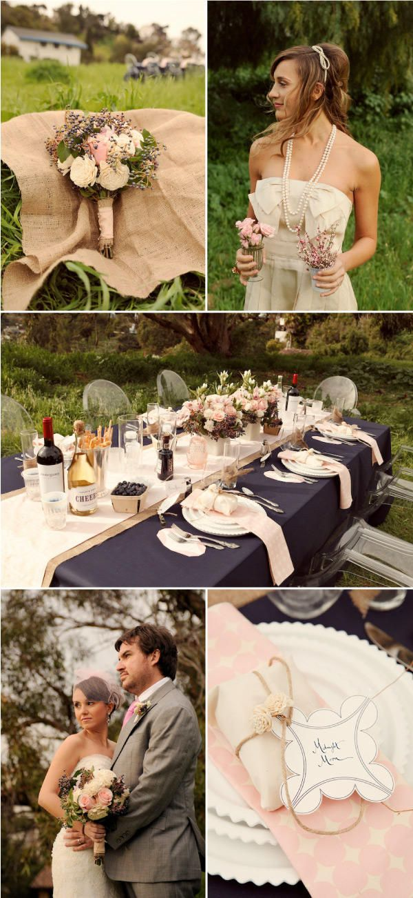 colour scheme , midnight blue, dusky pink & burlap even though it is a wedding photo i'd like this scheme in the bedroom