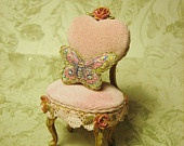 Jill Dianne - Petite Pink Velveteen Child's Heart and Rose Chair - Painted Tapestry Butterfly Pillow - Dollhouse Miniature
