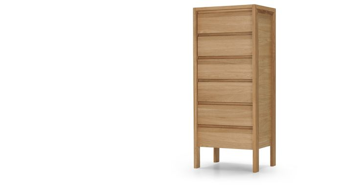 The Ledger Tallboy Chest of Drawers in oak makes a great addition to the bedroom and a perfect match to the Ledger bed.