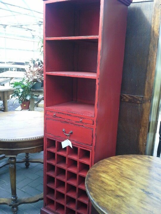 Red Distressed Furniture | Distressed red hutch.  Wine bottles would look perfect on the bottom ;)
