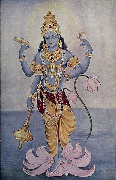 God Vishnu. In Hindu sacred texts, Vishnu is usually described as having dark complexion of water-filled clouds and having four arms. He is depicted as a pale blue being, as are his incarnations Rama and Krishna.
