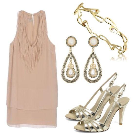 Conjunto años 20 en rosa y oro. Inspirado en El Gran Gatsby