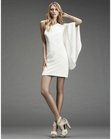 Silk one-shoulder dress with draped sleeve
