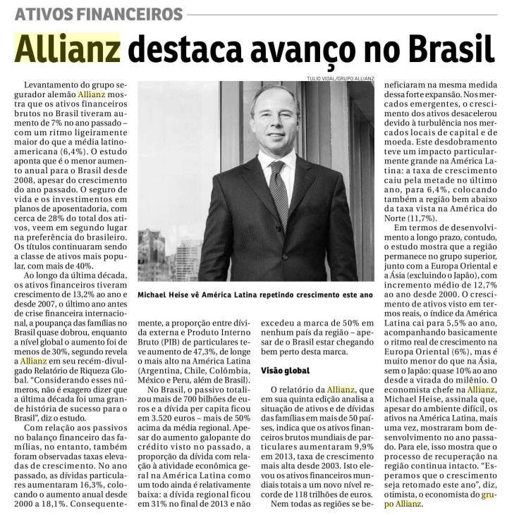 Título: Allianz destaca avanço no Brasil. Veículo: Jornal do Commercio RJ. Data: 26/09/2014. Cliente: Allianz Seguros.