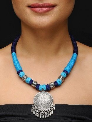 ГОЛУБОЕ ожерелье Латунная подвеска Thread С