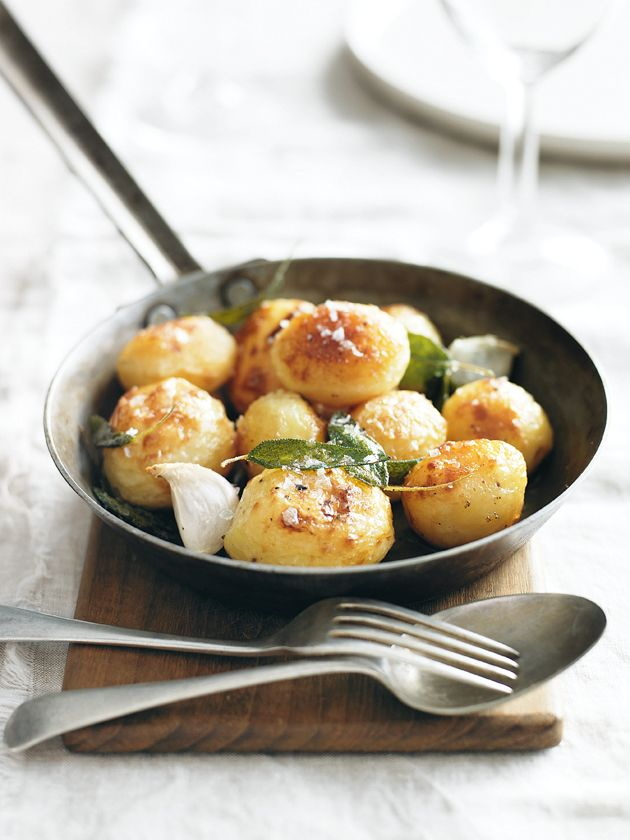 Crispy potatoes with sage and garlic.