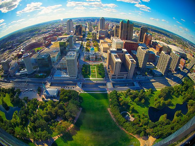 St. Louis Missouri - Looking At The City From The Top Of The Gateway Arch