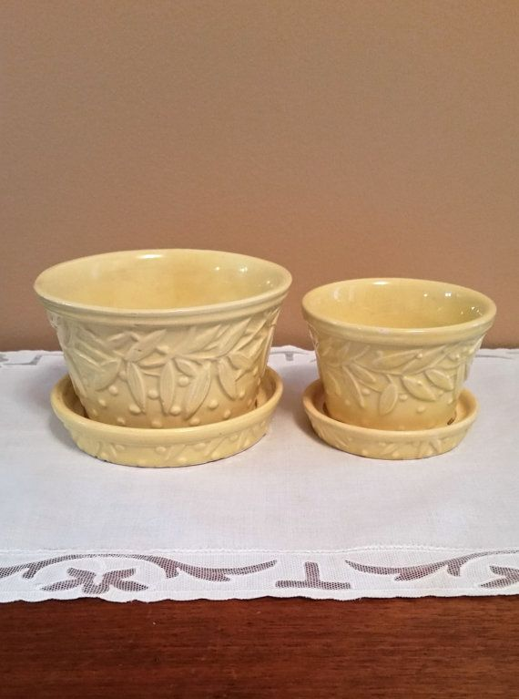 Pair of Yellow McCoy Pottery Flower Pots by BecaluDesigns on Etsy
