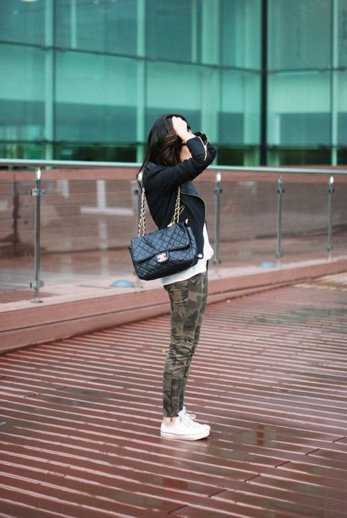 camo + Chanel quilted bag + white converse + soft biker jacket