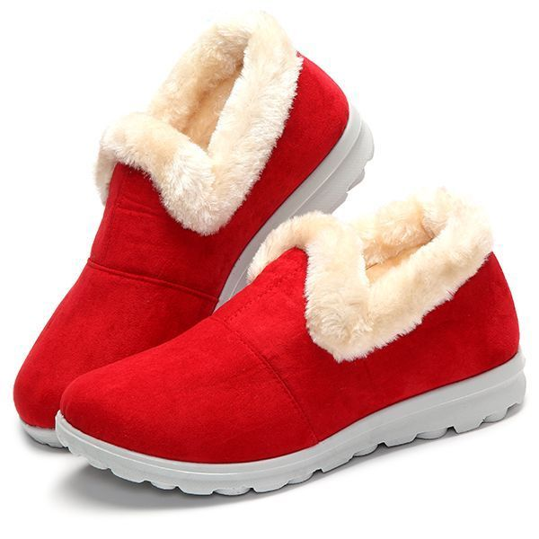 Snow Boots Women Winter Fur Lining Keep Warm Cotton Outdoor Flat