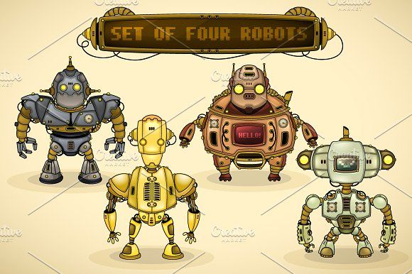 Set of vintage robots by yuanden graphics on @creativemarket