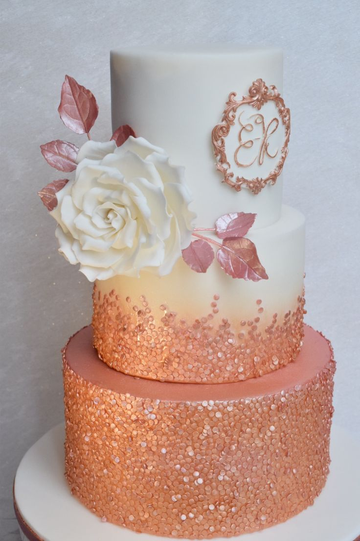 Rose Gold Sequin Ombr 233 Cake With Full Blown Sugar Rose
