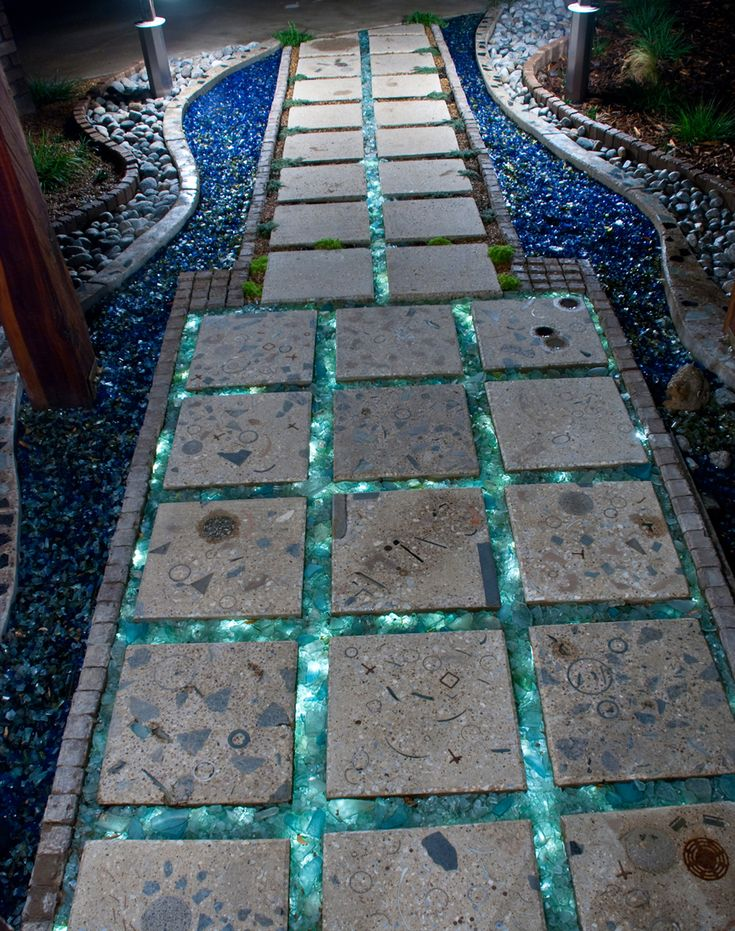 Night Photo Of Recycled Tumbled Glass And Concrete Pavers