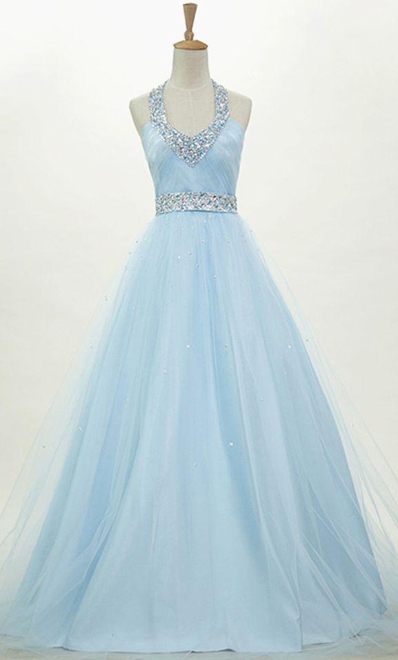Blue O-neck sparkle beaded backless special high quality long Floor-length Prom Dresses Gown,cheap formal prom gown BD1705289