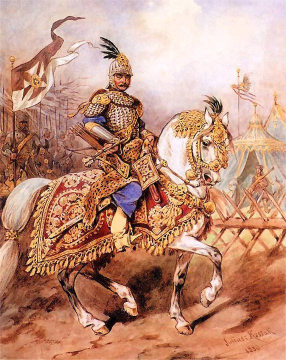 Rotamaster of hussars in the late seventeenth century. Mal. W. Kossak.