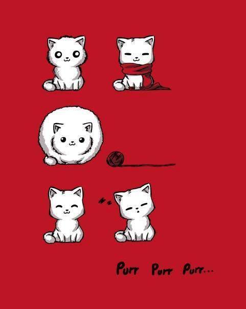 Soft kitty, warm kitty,: little ball of fur. Happy kitty, sleepy kitty,: purr, purr, purr.