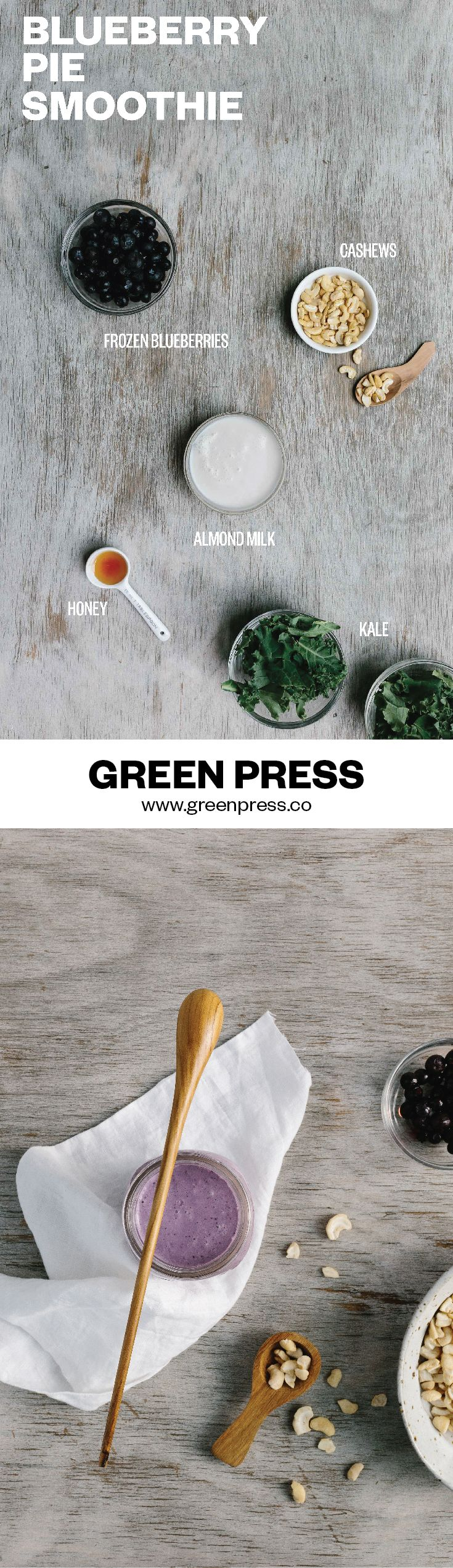 How To Make Kale Taste Like A Blueberry Pie.Proof that healthy plants taste amazing. The most dense green vegetable is overshadowed by skin glowing blueberries, creamy cashews and sweet honey. This smoothie recipe is creamy, delicious and filling. | http://greenpress.co