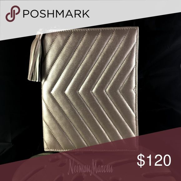 "New Neiman Marcus Kindle/Nook Case - Rose gold  - Chevron pattern - Tassle - Button clasp - One pocket  - 9"" tall - 7"" wide  - 1"" deep - Rare find! Neiman Marcus Bags Laptop Bags"