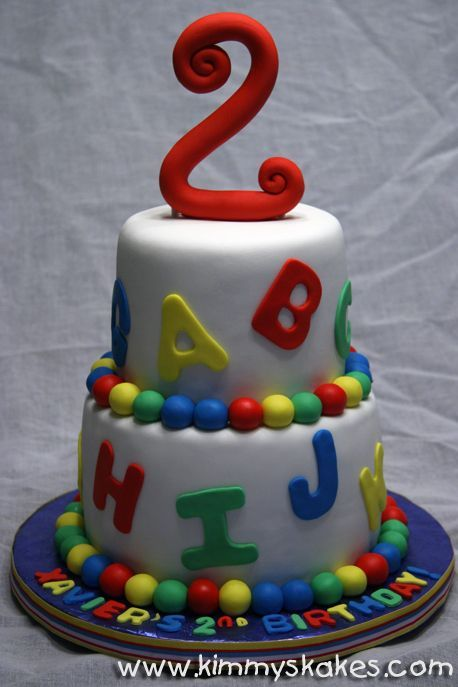 "A...B..C - This was such a fun cake to make! 8"" & 6"" rounds covered in fondant. The topper is gumpaste and the accessories are fondant."