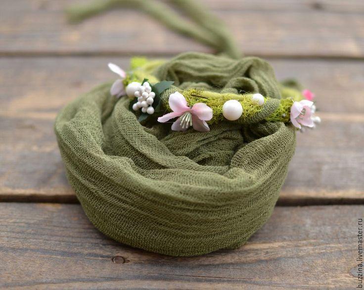 Купить Венок на голову для фотосессий новорожденных + обмотка Зеленый мох - повязка, повязка на голову