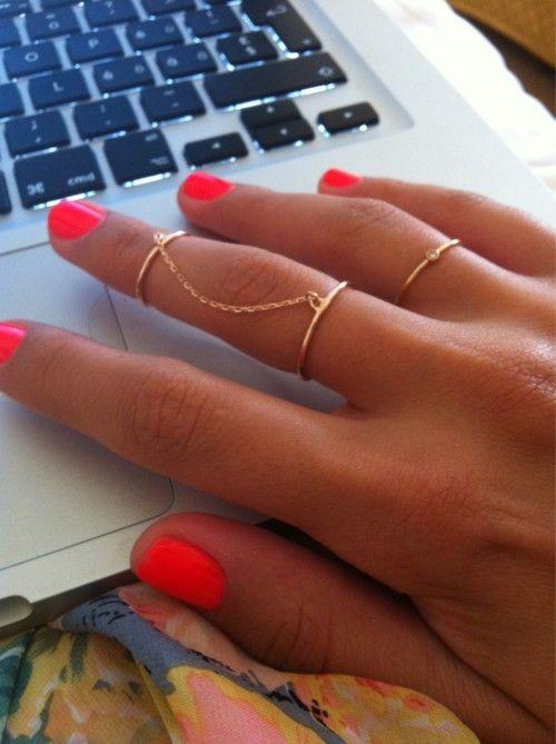 rings and nail polishNails Colors, Nailpolish, Knuckle Rings, Gold Rings, Neon Nails, Summer Colors, Nails Colours, Nails Polish Colors, Bright Nails