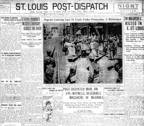 The city of East St. Louis, Illinois was the scene of one of the bloodiest race riots in the 20th century. Racial tensions began to increase in February, 1917 when 470 #African American workers were hired to replace white workers who had gone on strike against the Aluminum Ore Company.  The viole