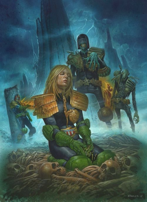 "The Art Of Death!Fresh from the easel of Judge Dredd supremo, Greg Staples is this stunning recreation of Psi-Judge Anderson and Judge Dredd's ""final"" showdown with the Dark Judges on their home planet, Deadworld.Perfectly encapsulating the original vision of Dark Judges co-creator, the maestro Brian Bolland."