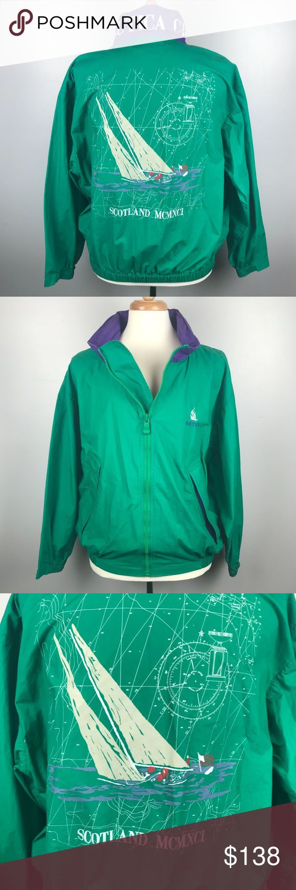 """Men's VTG Nautica Scotland Cup 1991 Sailing Jacket Vintage 1991 Nautica Scotland Cup Sailing Jacket Green with Purple Accent Color Front Zipper Hidden Purple Hood Zippers into Collar Back of Collar says """"Nautica Cup"""" Back has map and sailboat  A few pulls on inside lining otherwise excellent condition Men's Size Large 27.5"""" underarm to underarm measured flat  28"""" long Nautica Jackets & Coats Windbreakers"""
