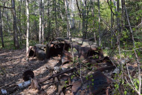 Abandoned car on the Granite Ridge Trail, Killarney Park, Ontario, Canada