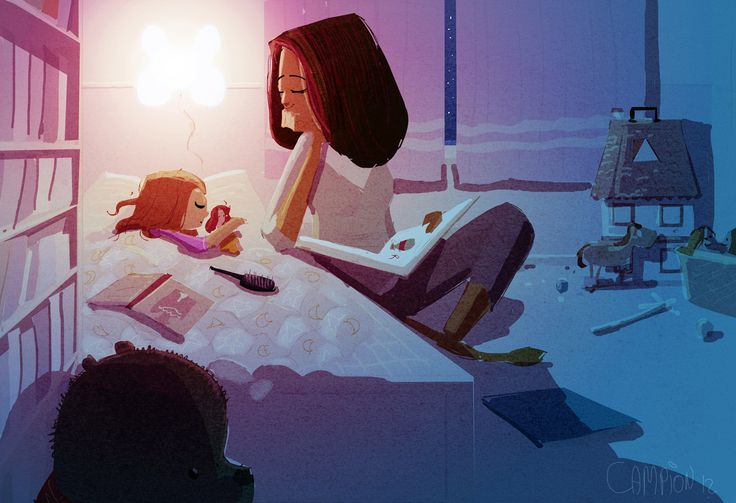 """Low bed. Big book. Purple. """"Hush Little Baby"""" -Pascal Campion"""