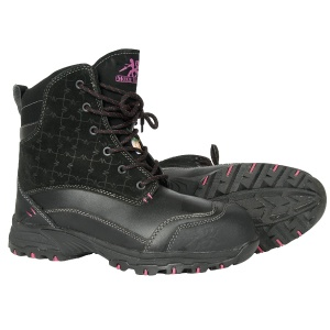 Black Waterproof Winter Work Boots For Women - Lotus 7″ Metal Free Insulated Waterproof Work Boot $179.99 Metal Free 400g Thinsulate Ultra Waterproof Leather and suede upper Composite toe Composite plate TPU shank Plastic eyelets PK abrasion resistant lining Compression molded EVA midsole Removable cushioned EVA insole ANTI-SLIP and oil resistant rubber outsole CSA approved, Grade 1 Electric Shock Resistant Meets or exceeds ASTM 2413-05 requirements