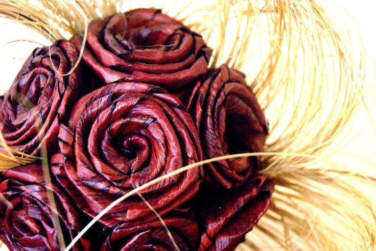 A flax made bouquet.