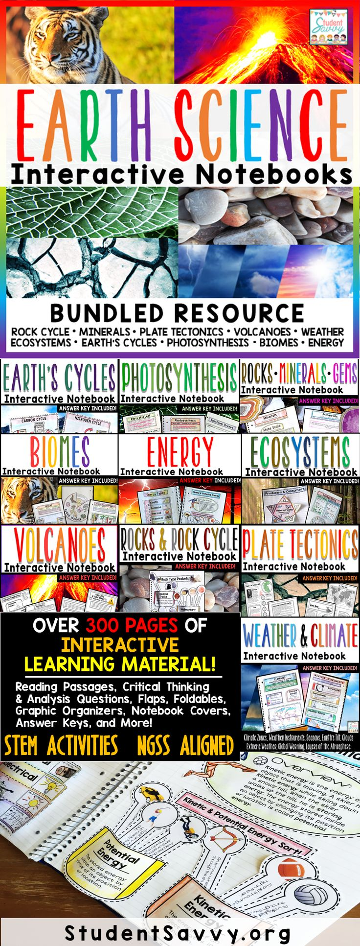 Earth Science Interactive Notebook Bundle! My 6th grade students love the foldables and interactive activities. Jam-packed with different science units and lessons
