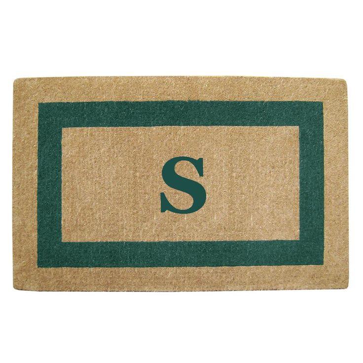 Single Picture Frame Green 30 in. x 48 in. Heavy Duty Coir Monogrammed S Door Mat, Green/Brush