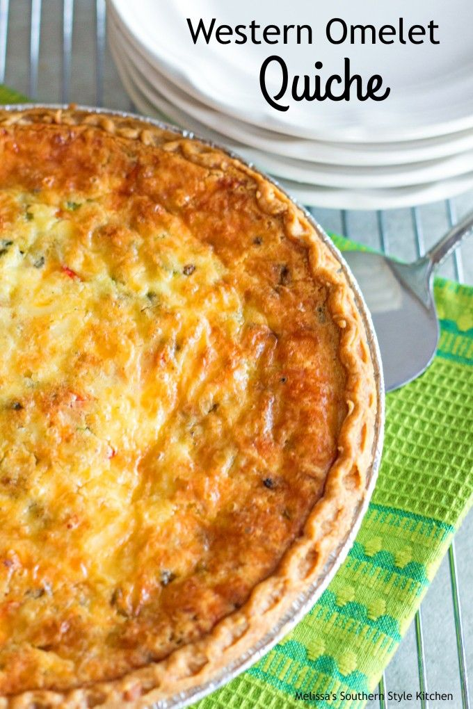 Western Omelet Quiche - This colorful quiche is what happens when a savory pie and a baked Western omelet collide. Eggs, cheese, peppers, green onion and ham all baked together with a luscious creamy custard in deep dish pie shell
