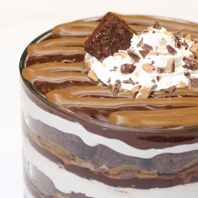 Caramel Chocolate Trifle (This sounds good but I would use homemade chocolate cake instead of cake mix, and fresh whipped cream instead of whipped topping).
