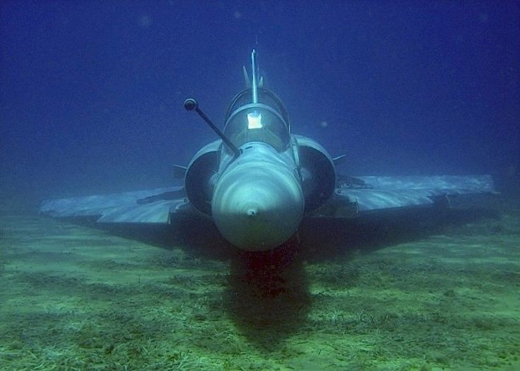 Submerged and intact airframe of Hellenic Air Force Mirage 2000 that crashed in 2011. Not something that goes anymore.