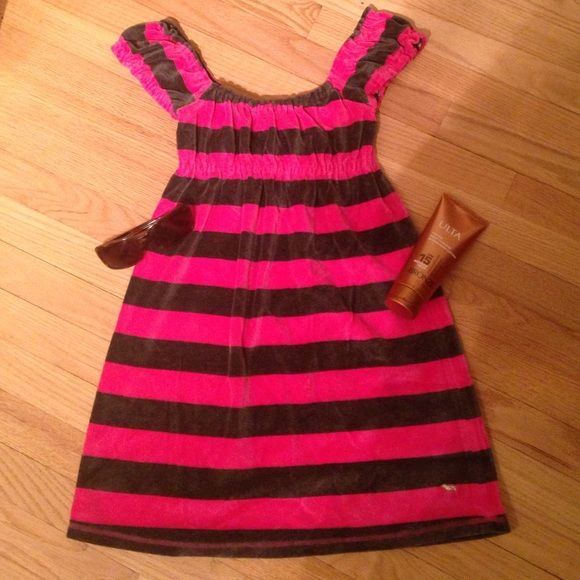 Victoria's Secret PINK Beach Dress - XS Victoria's Secret PINK Beach Dress / Cover Up - XS. Velvet material. Hot pink & gray stripes. Excellent condition! Victoria's Secret Swim Coverups