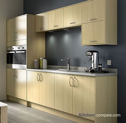 Wickes - Stocked: Oakmont Oak Effect Slab. Oakmont is a clean, contemporary and sleek oak style kitchen. The finish is hardwearing and durable, perfect for the busy family kitchen. More information is available here - http://bit.ly/1RoRer6
